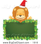 May 3rd, 2016: Big Cat Cartoon Vector Clipart of a Happy Christmas Lion over a Blank Holly Sign by Qiun