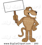 Big Cat Cartoon Vector Clipart of a Happy Cougar Mascot Character Holding a Blank Sign by Toons4Biz