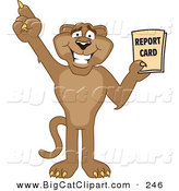 Big Cat Cartoon Vector Clipart of a Happy Cougar Mascot Character Holding a Report Card by Toons4Biz