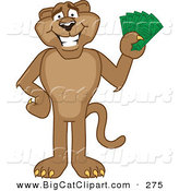 Big Cat Cartoon Vector Clipart of a Happy Cougar Mascot Character Holding Money by Toons4Biz