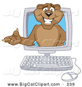 Big Cat Cartoon Vector Clipart of a Happy Cougar Mascot Character in a Computer by Toons4Biz