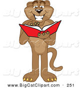 Big Cat Cartoon Vector Clipart of a Happy Cougar Mascot Character Reading by Toons4Biz