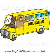 Big Cat Cartoon Vector Clipart of a Happy Cougar Mascot Character School Bus Driver by Toons4Biz