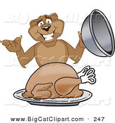 Big Cat Cartoon Vector Clipart of a Happy Cougar Mascot Character Serving a Thanksgiving Turkey by Toons4Biz