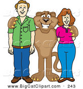 Big Cat Cartoon Vector Clipart of a Happy Cougar Mascot Character with Adults by Toons4Biz