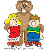 Big Cat Cartoon Vector Clipart of a Happy Cougar Mascot Character with Children by Toons4Biz