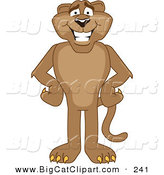 Big Cat Cartoon Vector Clipart of a Happy Cougar Mascot Character with His Hands on His Hips by Toons4Biz