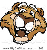 Big Cat Cartoon Vector Clipart of a Happy Couger Mascot Head by Chromaco