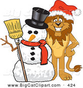 Big Cat Cartoon Vector Clipart of a Happy Gentle Lion Character Mascot with a Snowman by Toons4Biz