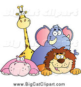 Big Cat Cartoon Vector Clipart of a Happy Giraffe Elephant Hippo and Lion over a Ledge by Hit Toon