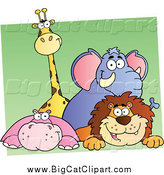 Big Cat Cartoon Vector Clipart of a Happy Giraffe Elephant Hippo and Lion over Green and White by Hit Toon