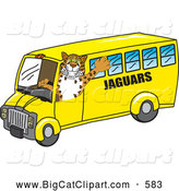 Big Cat Cartoon Vector Clipart of a Happy Jaguar Character School Mascot Driving a Bus by Toons4Biz