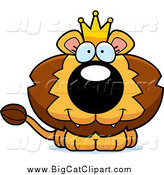 Big Cat Cartoon Vector Clipart of a Happy King Lion Cub by Cory Thoman