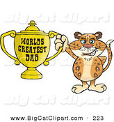 Big Cat Cartoon Vector Clipart of a Happy Leopard Wildcat Character Holding a Golden Worlds Greatest Dad Trophy by Dennis Holmes Designs