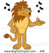 Big Cat Cartoon Vector Clipart of a Happy Lion Character Mascot Singing by Toons4Biz