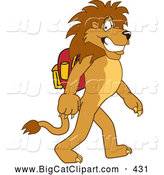 Big Cat Cartoon Vector Clipart of a Happy Lion Character Mascot Walking to School by Toons4Biz