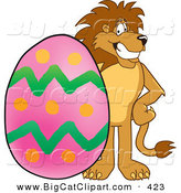 Big Cat Cartoon Vector Clipart of a Happy Lion Character Mascot with an Easter Egg by Toons4Biz