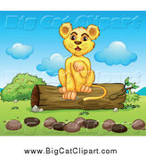 Big Cat Cartoon Vector Clipart of a Happy Lion Cub Lifting a Paw and Sitting on a Log by Graphics RF