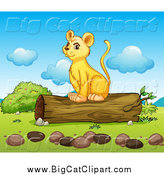 Big Cat Cartoon Vector Clipart of a Happy Lion Cub Sitting on a Log by Graphics RF