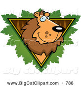 Big Cat Cartoon Vector Clipart of a Happy Lion Face over a Wooden Safari Triangle with Leaves by Cory Thoman