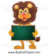 Big Cat Cartoon Vector Clipart of a Happy Lion Holding a Chalkboard by Graphics RF