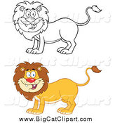 Big Cat Cartoon Vector Clipart of a Happy Lion in Color and Lineart by Hit Toon
