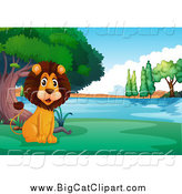 Big Cat Cartoon Vector Clipart of a Happy Lion Sitting on the Shore of a Lake or Pond by Graphics RF