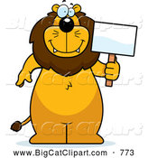 Big Cat Cartoon Vector Clipart of a Happy Lion Standing and Holding a Sign by Cory Thoman