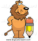 Big Cat Cartoon Vector Clipart of a Happy Lion Standing by a Pencil by Cory Thoman