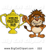 Big Cat Cartoon Vector Clipart of a Happy Lion Wildcat Character Holding a Golden Worlds Greatest Dad Trophy by Dennis Holmes Designs