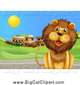 Big Cat Cartoon Vector Clipart of a Happy Male Lion by a Road and Ghost Town by Graphics RF