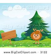 Big Cat Cartoon Vector Clipart of a Happy Male Lion Doing a Hand Stand by a Sign by Graphics RF