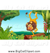 Big Cat Cartoon Vector Clipart of a Happy Male Lion Doing a Hand Stand on a Log by Graphics RF