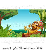 Big Cat Cartoon Vector Clipart of a Happy Male Lion King Thinking and Holding up a Finger on a Log by Graphics RF