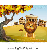 Big Cat Cartoon Vector Clipart of a Happy Male Lion Sitting by a Ghost Town by Graphics RF