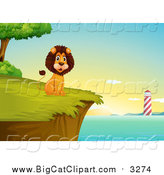 Big Cat Cartoon Vector Clipart of a Happy Male Lion Sitting on a Cliff with a Lighthouse View at Sunrise by Graphics RF