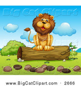 Big Cat Cartoon Vector Clipart of a Happy Male Lion Sitting on a Log by Graphics RF