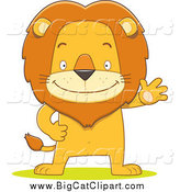Big Cat Cartoon Vector Clipart of a Happy Male Lion Waving and Standing Upright by Qiun