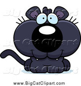 Big Cat Cartoon Vector Clipart of a Happy Panther Cub by Cory Thoman