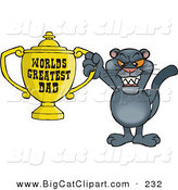 Big Cat Cartoon Vector Clipart of a Happy Panther Wildcat Character Holding a Golden Worlds Greatest Dad Trophy by Dennis Holmes Designs