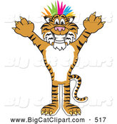 Big Cat Cartoon Vector Clipart of a Happy Tiger Character School Mascot Punk with Colorful Hair by Toons4Biz