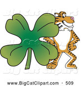 Big Cat Cartoon Vector Clipart of a Happy Tiger Character School Mascot with a Clover by Toons4Biz