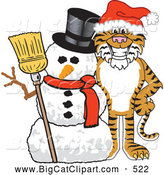 Big Cat Cartoon Vector Clipart of a Happy Tiger Character School Mascot with a Snowman by Toons4Biz