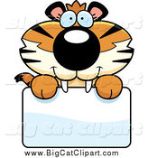 Big Cat Cartoon Vector Clipart of a Happy Tiger Cub over a Sign by Cory Thoman