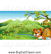 Big Cat Cartoon Vector Clipart of a Happy Tiger in a Spring Valley by Graphics RF