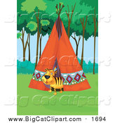 Big Cat Cartoon Vector Clipart of a Happy Tiger in a Tipi by Graphics RF