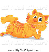 Big Cat Cartoon Vector Clipart of a Happy Tiger Resting on His Belly by Graphics RF