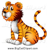 Big Cat Cartoon Vector Clipart of a Happy Tiger Sitting and Facing Left by Graphics RF