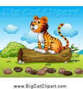 Big Cat Cartoon Vector Clipart of a Happy Tiger Sitting on a Log on a Sunny Day by Graphics RF