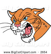 Big Cat Cartoon Vector Clipart of a Hissing Cougar by LaffToon